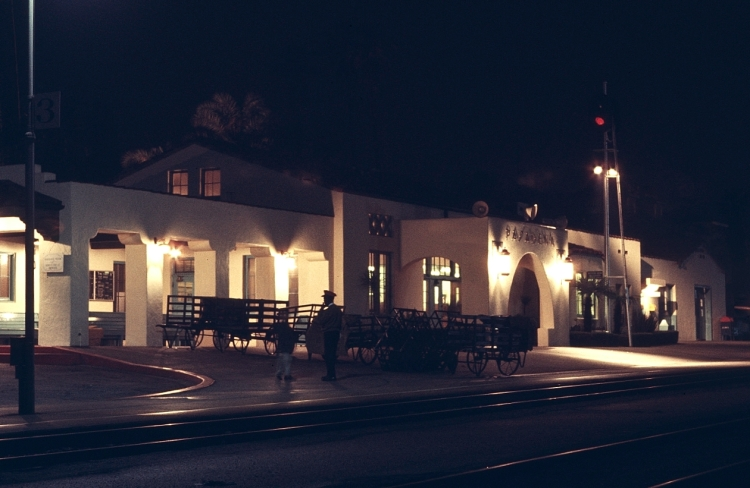 SANTA FE PASADENA DEPOT AT NIGHT